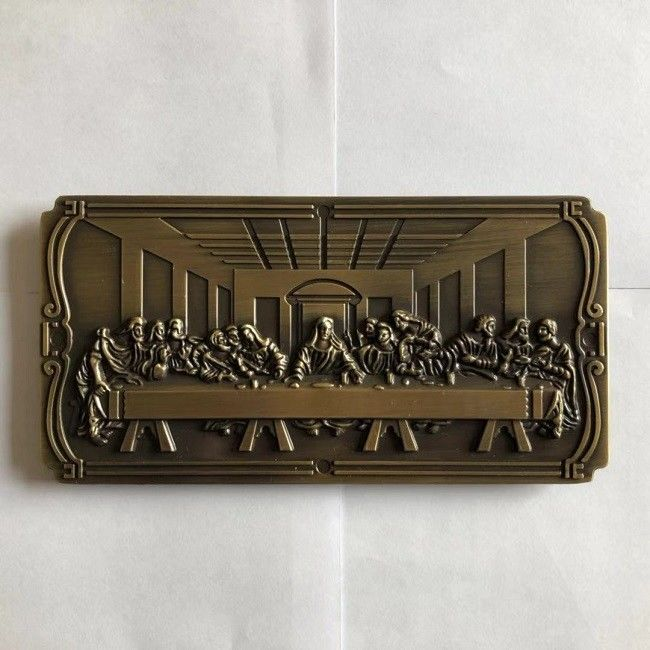 DN01 Coffin Hardware Casket Decoration Metal Last Supper Nameplate 18 * 6 Cm